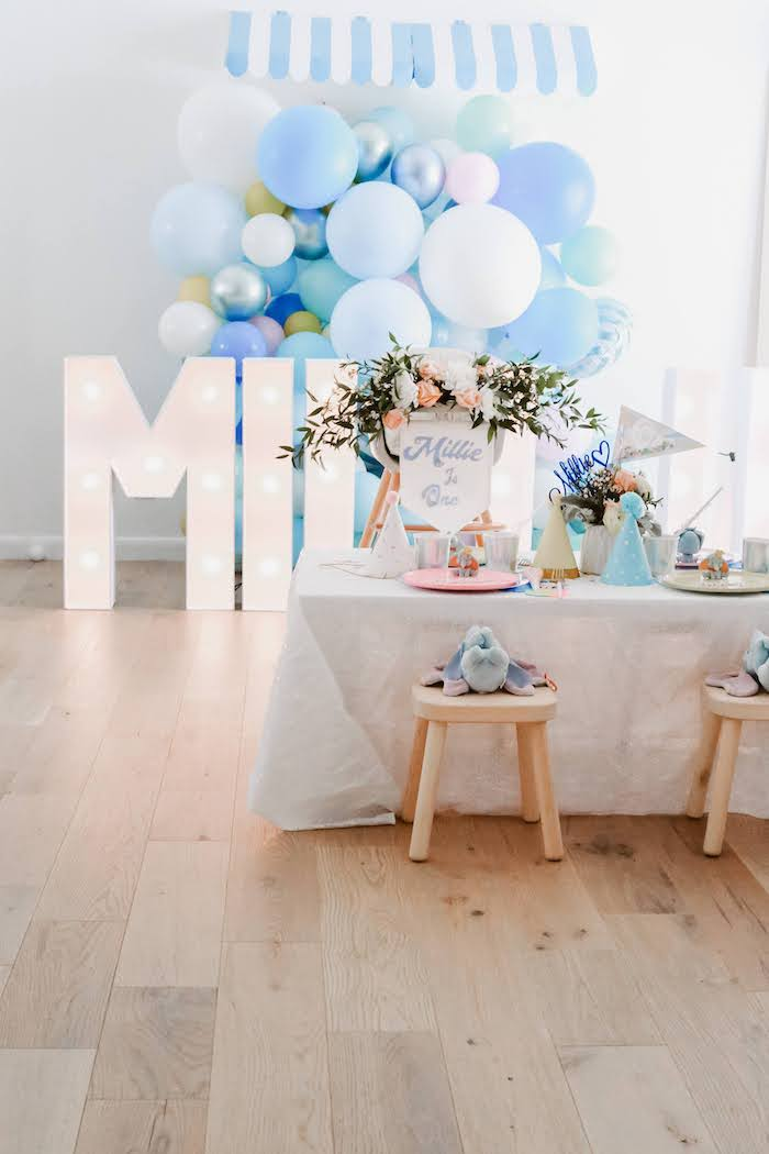 Dumbo Themed Guest Table from a Pastel Dumbo + Circus Birthday Party on Kara's Party Ideas | KarasPartyIdeas.com (10)