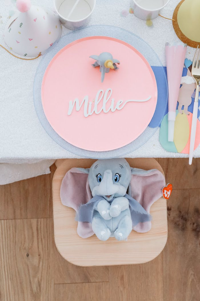 Dumbo Themed Table Setting from a Pastel Dumbo + Circus Birthday Party on Kara's Party Ideas | KarasPartyIdeas.com (9)
