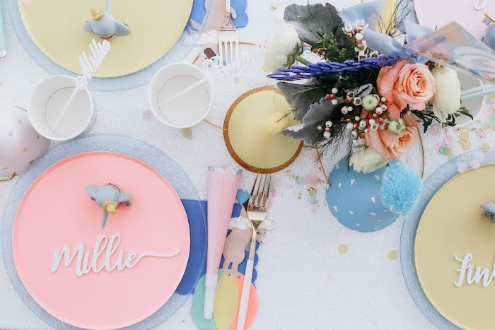 Dumbo Themed Table Setting + Tabletop from a Pastel Dumbo + Circus Birthday Party on Kara's Party Ideas | KarasPartyIdeas.com (8)