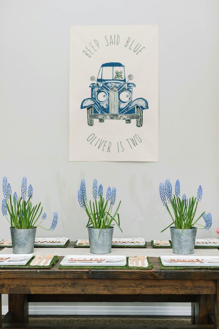 """""""Little Blue Truck Guest Table from a """"Little Blue Truck"""" Inspired Birthday Party on Kara's Party Ideas 