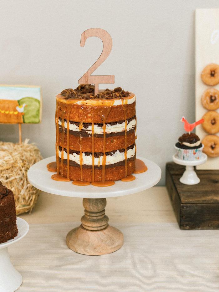"Carmel Drip Cake from a ""Little Blue Truck"" Inspired Birthday Party on Kara's Party Ideas | KarasPartyIdeas.com (20)"