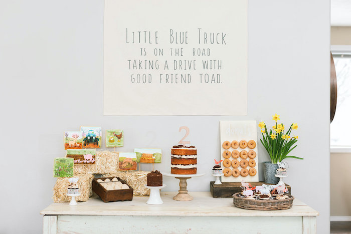 """""""Little Blue Truck"""" Themed Dessert Table from a """"Little Blue Truck"""" Inspired Birthday Party on Kara's Party Ideas 