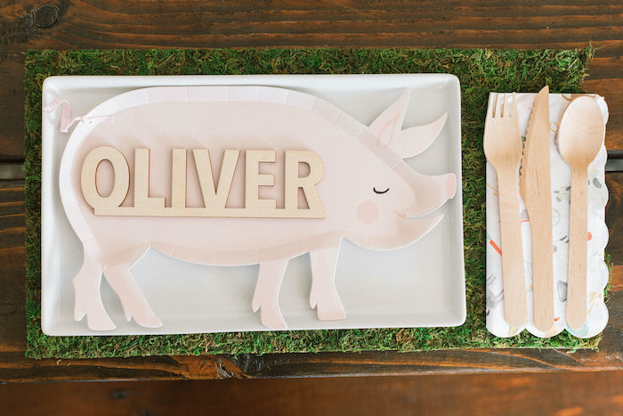 """Pig Plate Table Setting with Custom Wood Name from a """"Little Blue Truck"""" Inspired Birthday Party on Kara's Party Ideas 