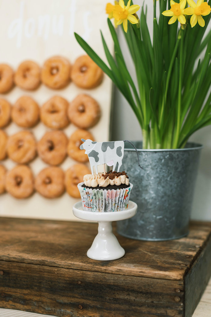 """Cow Cupcake from a """"Little Blue Truck"""" Inspired Birthday Party on Kara's Party Ideas 