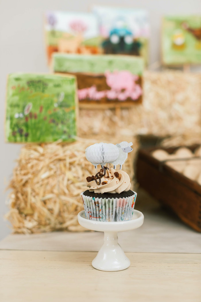 """Sheep Cupcake from a """"Little Blue Truck"""" Inspired Birthday Party on Kara's Party Ideas 