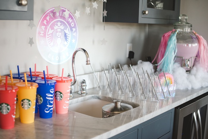 """Beverage Table from a """"You are Magical"""" Rainbows + Unicorns Birthday Party on Kara's Party Ideas 