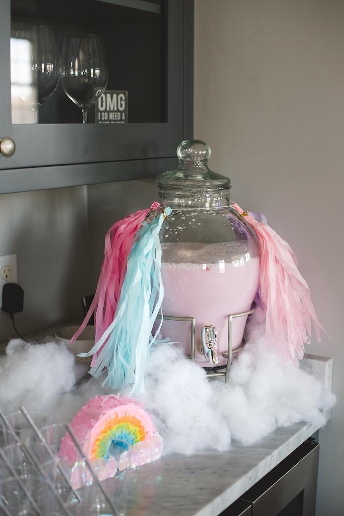 "Rainbow Cloud Beverage Dispenser from a ""You are Magical"" Rainbows + Unicorns Birthday Party on Kara's Party Ideas | KarasPartyIdeas.com (9)"