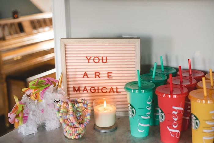 """You Are Magical Favor Table from a """"You are Magical"""" Rainbows + Unicorns Birthday Party on Kara's Party Ideas 