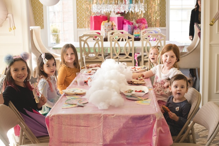 """Puffy Cloud Guest Table from a """"You are Magical"""" Rainbows + Unicorns Birthday Party on Kara's Party Ideas 
