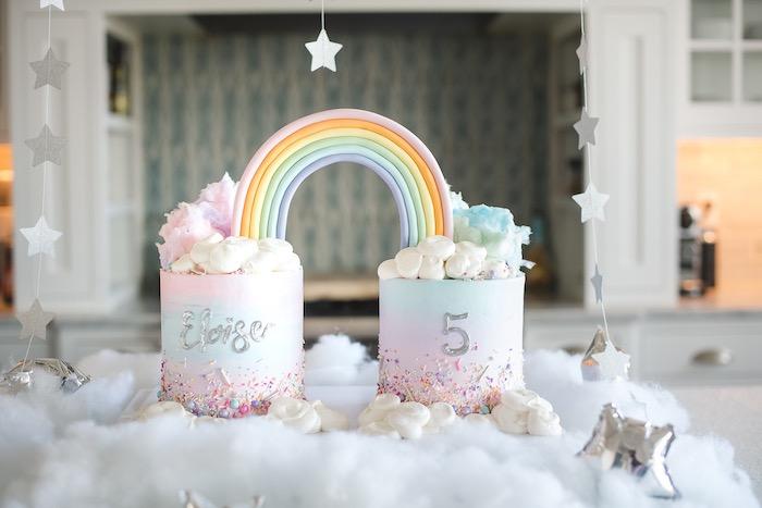 "Double Rainbow Cake from a ""You are Magical"" Rainbows + Unicorns Birthday Party on Kara's Party Ideas | KarasPartyIdeas.com (20)"