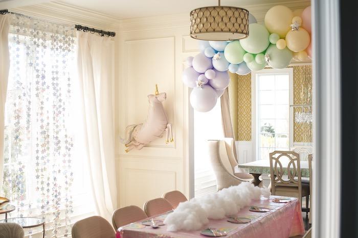 "Rainbow Cloud Guest Table from a ""You are Magical"" Rainbows + Unicorns Birthday Party on Kara's Party Ideas | KarasPartyIdeas.com (17)"