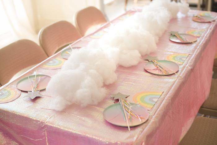 "Rainbow Cloud Guest Table from a ""You are Magical"" Rainbows + Unicorns Birthday Party on Kara's Party Ideas | KarasPartyIdeas.com (15)"