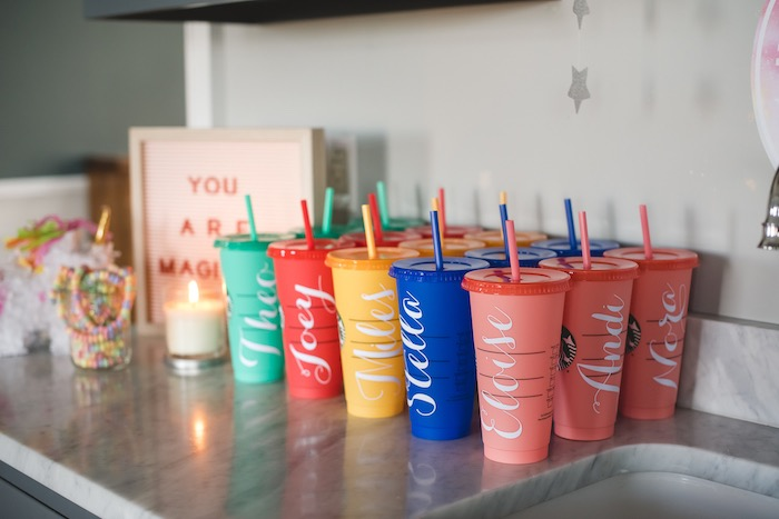 """Personalized Favor Cups from a """"You are Magical"""" Rainbows + Unicorns Birthday Party on Kara's Party Ideas 