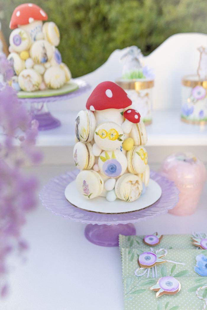 Garden-inspired Macaron Tower from a Blooming Spring Garden Party on Kara's Party Ideas | KarasPartyIdeas.com (12)