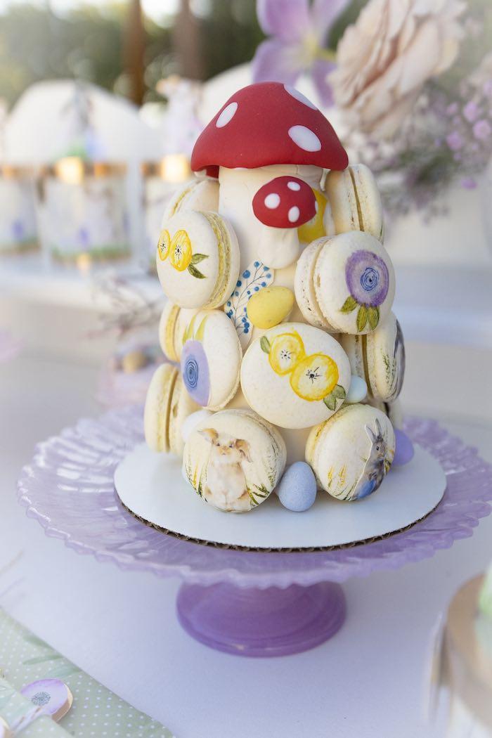 Garden-inspired Macaron Tower from a Blooming Spring Garden Party on Kara's Party Ideas | KarasPartyIdeas.com (21)