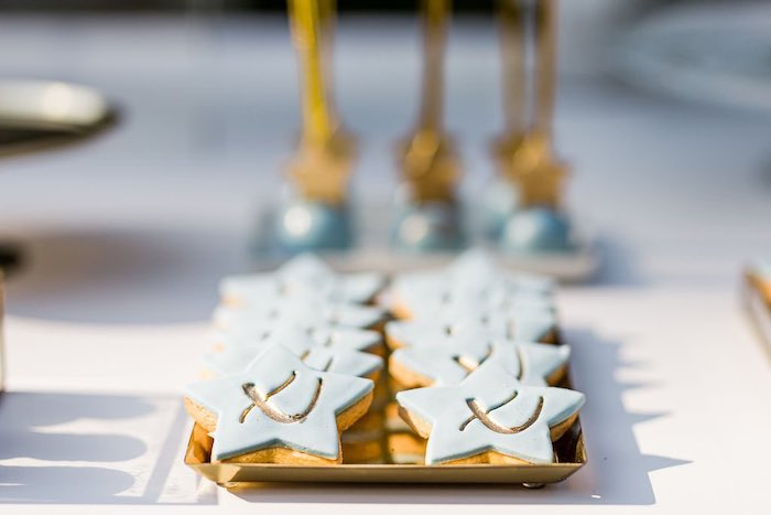 Blue Star Cookies from a Blue & Gold Garden Baptism Party on Kara's Party Ideas   KarasPartyIdeas.com (21)