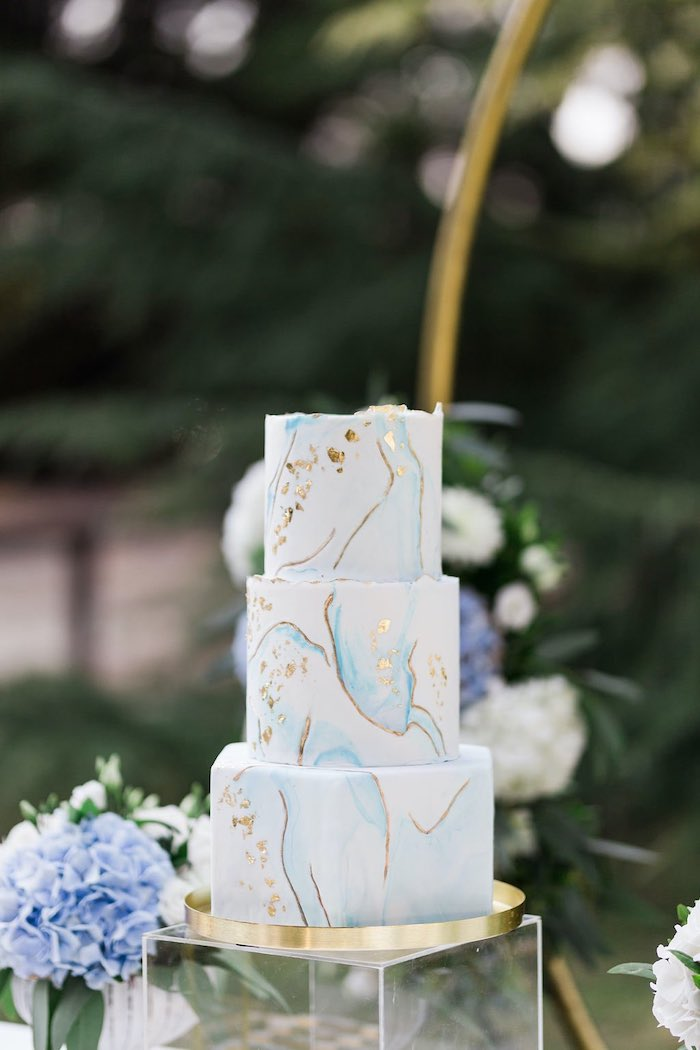 Blue & Gold Marble Cake from a Blue & Gold Garden Baptism Party on Kara's Party Ideas   KarasPartyIdeas.com (20)