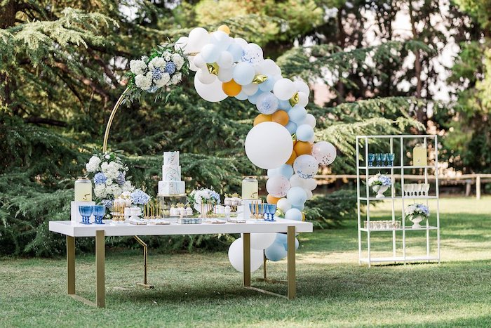 Blue & Gold Garden Dessert Table from a Blue & Gold Garden Baptism Party on Kara's Party Ideas   KarasPartyIdeas.com (15)