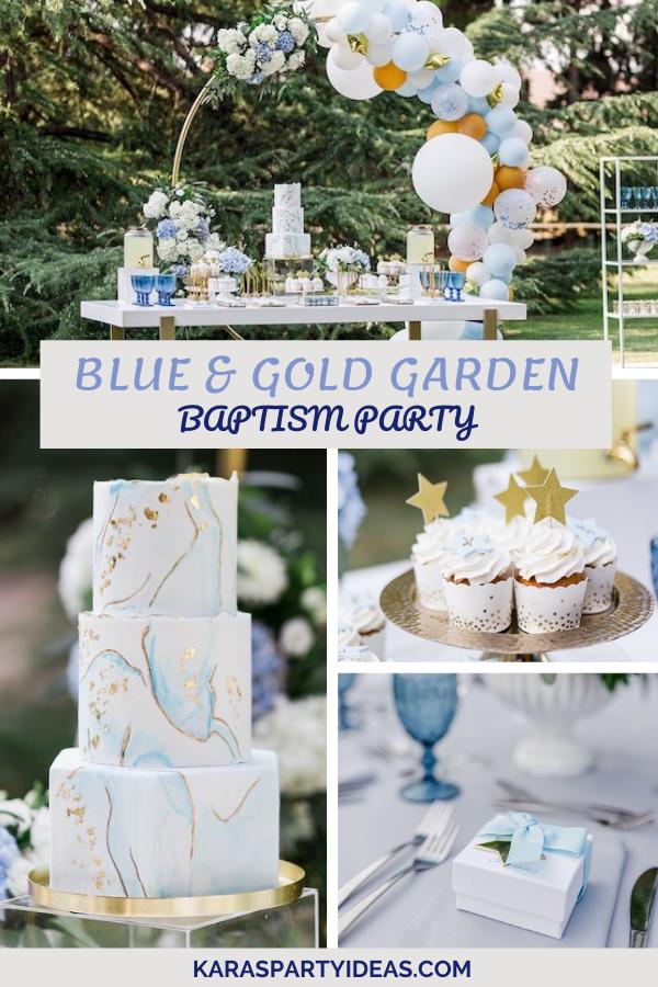 Blue & Gold Garden Baptism Party via Kara's Party Ideas - KarasPartyIdeas.com