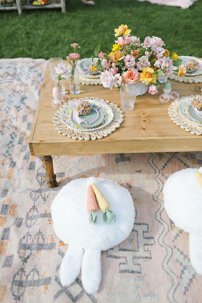 Boho Bunny Guest Table from a Boho Bunny Petting Zoo Party on Kara's Party Ideas | KarasPartyIdeas.com (48)