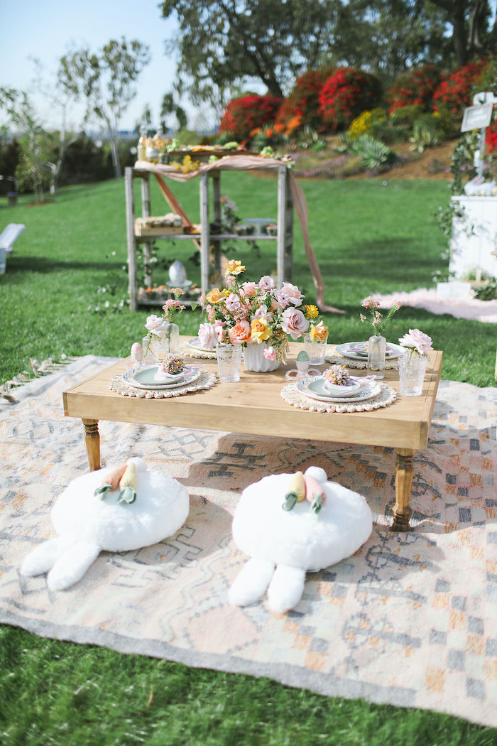 Boho Bunny Guest Table from a Boho Bunny Petting Zoo Party on Kara's Party Ideas | KarasPartyIdeas.com (57)