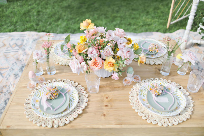 Boho Bunny Guest Table from a Boho Bunny Petting Zoo Party on Kara's Party Ideas | KarasPartyIdeas.com (51)