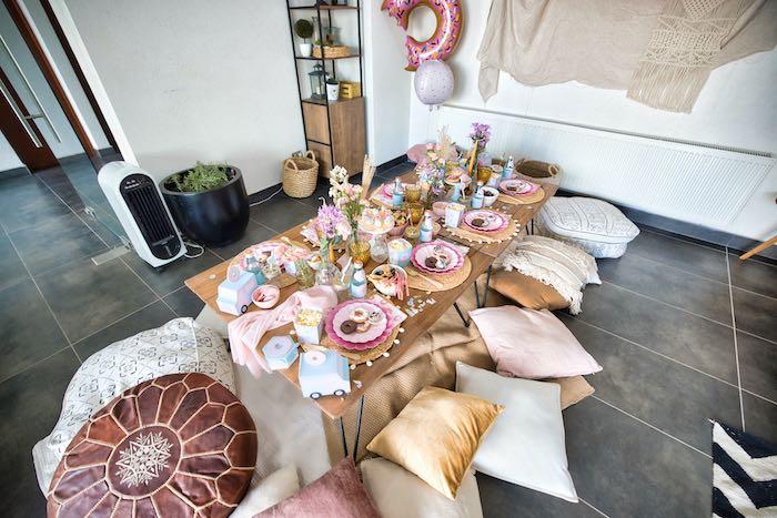 Boho Guest Table from a Boho Donut Birthday Party on Kara's Party Ideas | KarasPartyIdeas.com (10)