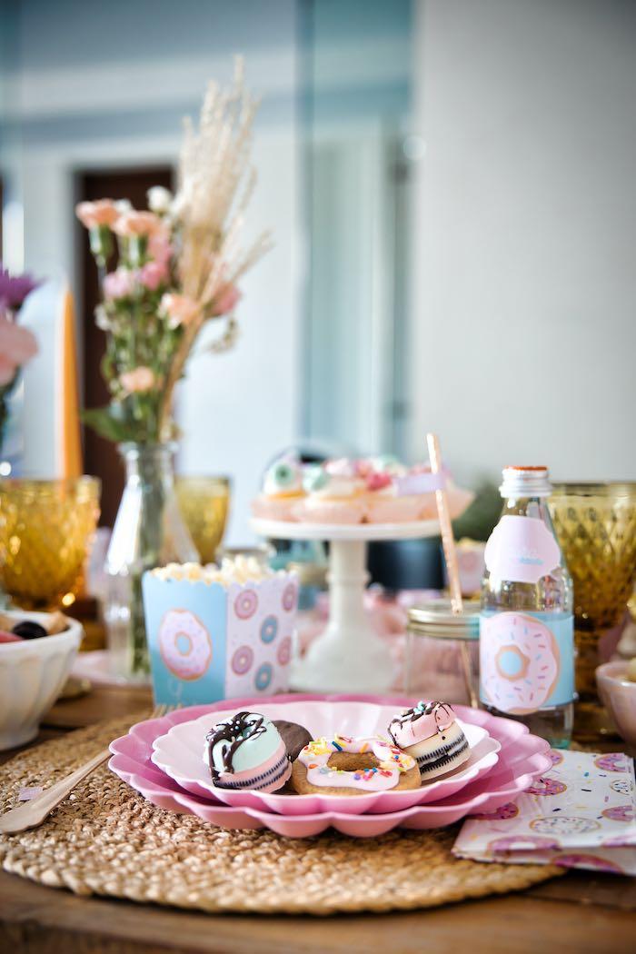 Donut-inspired Table Setting from a Boho Donut Birthday Party on Kara's Party Ideas | KarasPartyIdeas.com (9)