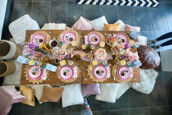Boho Guest Table from a Boho Donut Birthday Party on Kara's Party Ideas | KarasPartyIdeas.com (16)