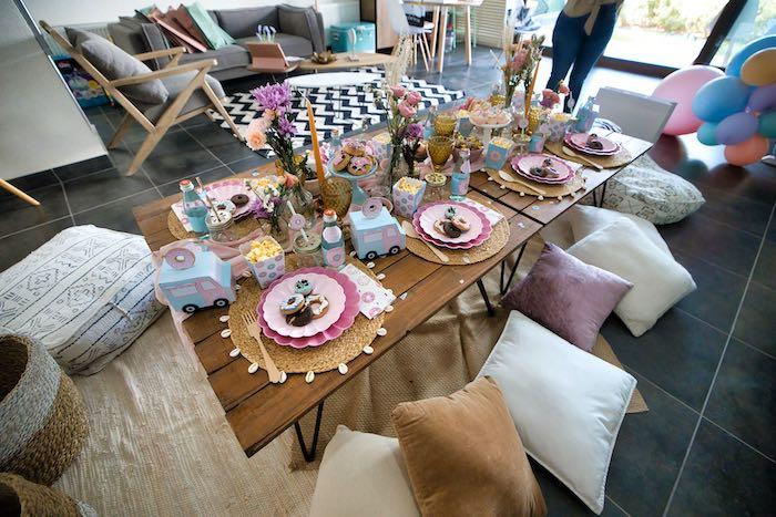 Boho Guest Table from a Boho Donut Birthday Party on Kara's Party Ideas | KarasPartyIdeas.com (15)