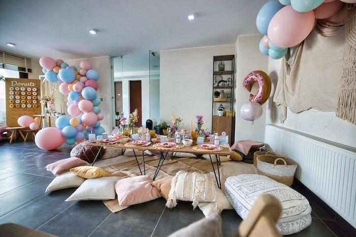 Boho Guest Table from a Boho Donut Birthday Party on Kara's Party Ideas | KarasPartyIdeas.com (14)