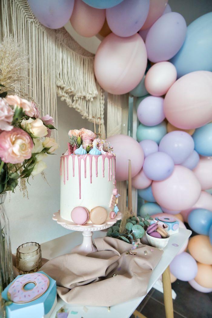 Boho Donut-inspired Birthday Cake from a Boho Donut Birthday Party on Kara's Party Ideas | KarasPartyIdeas.com (13)