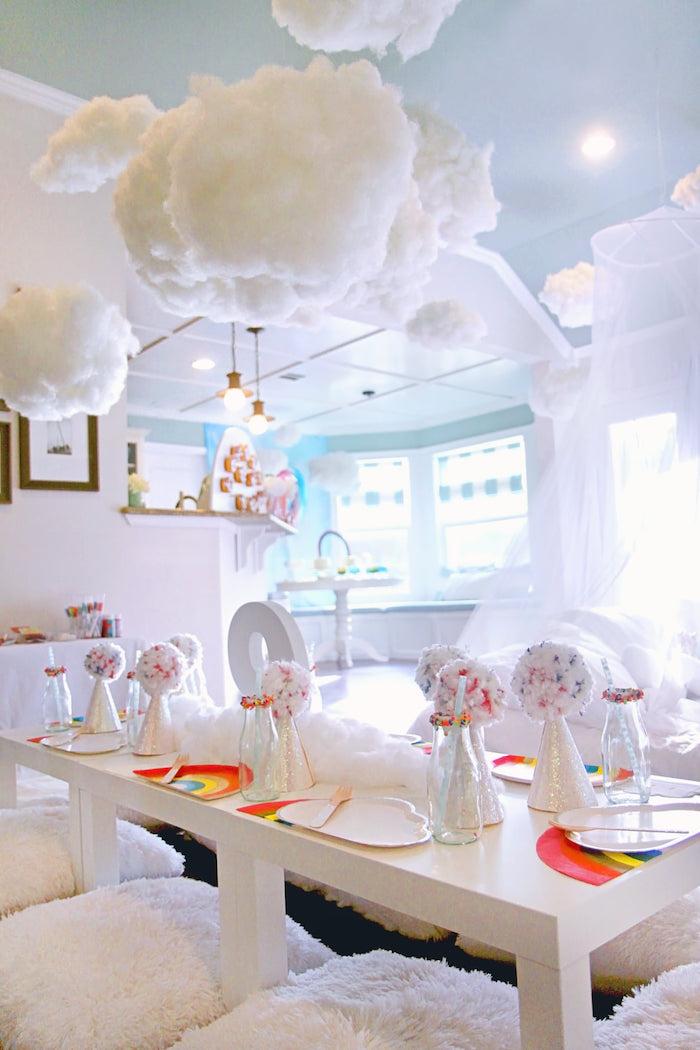 Cloud-inspired Guest Table from a Cloud Nine Sleepover on Kara's Party Ideas | KarasPartyIdeas.com (25)