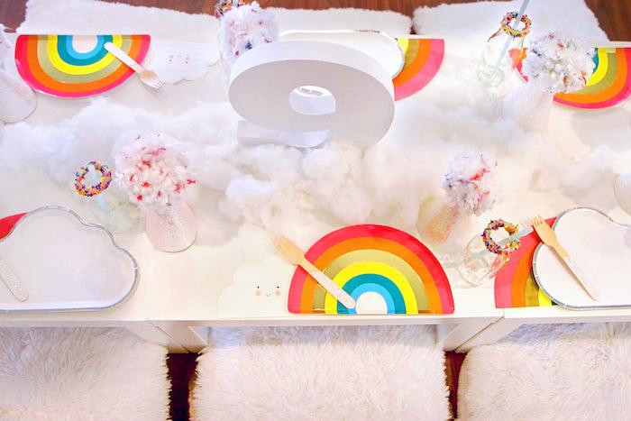 Rainbow Guest Table from a Cloud Nine Sleepover on Kara's Party Ideas | KarasPartyIdeas.com (22)