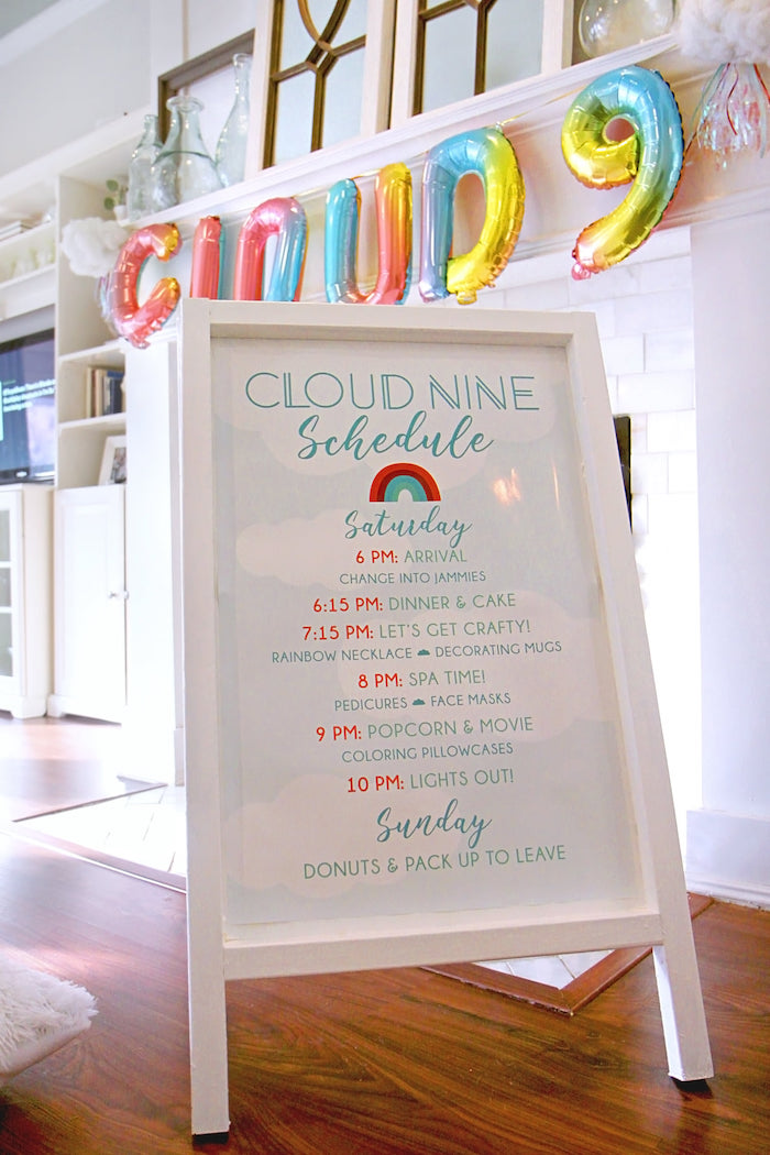 Welcome Sign from a Cloud Nine Sleepover on Kara's Party Ideas | KarasPartyIdeas.com (21)