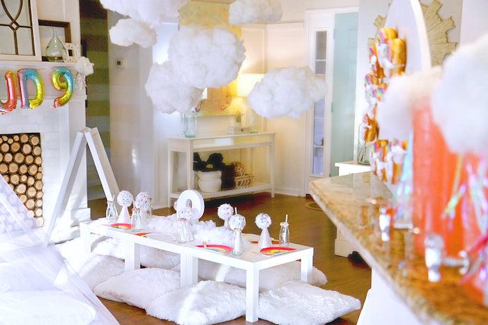 Cloud Nine Guest Table from a Cloud Nine Sleepover on Kara's Party Ideas | KarasPartyIdeas.com (20)