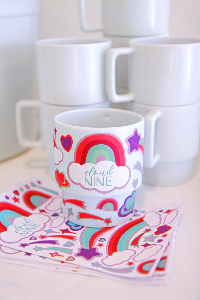 Favor Mugs Decorating Activity from a Cloud Nine Sleepover on Kara's Party Ideas | KarasPartyIdeas.com (37)