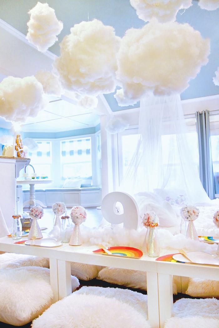 Cloud Nine Guest Table from a Cloud Nine Sleepover on Kara's Party Ideas | KarasPartyIdeas.com (16)