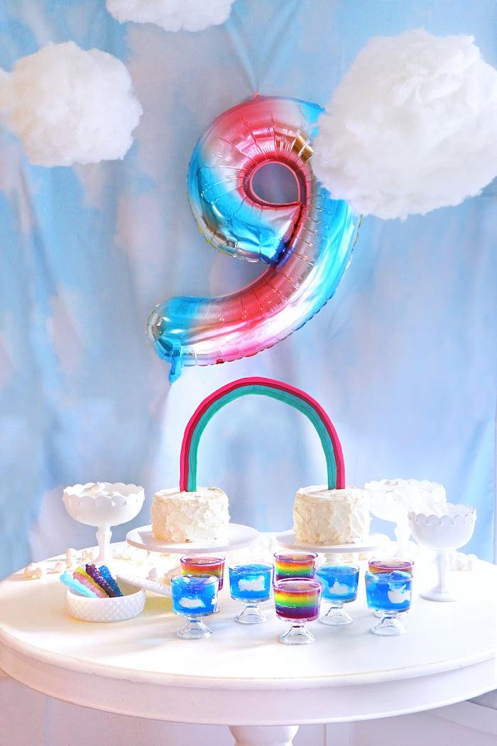 Rainbow Cake Table from a Cloud Nine Sleepover on Kara's Party Ideas | KarasPartyIdeas.com (15)