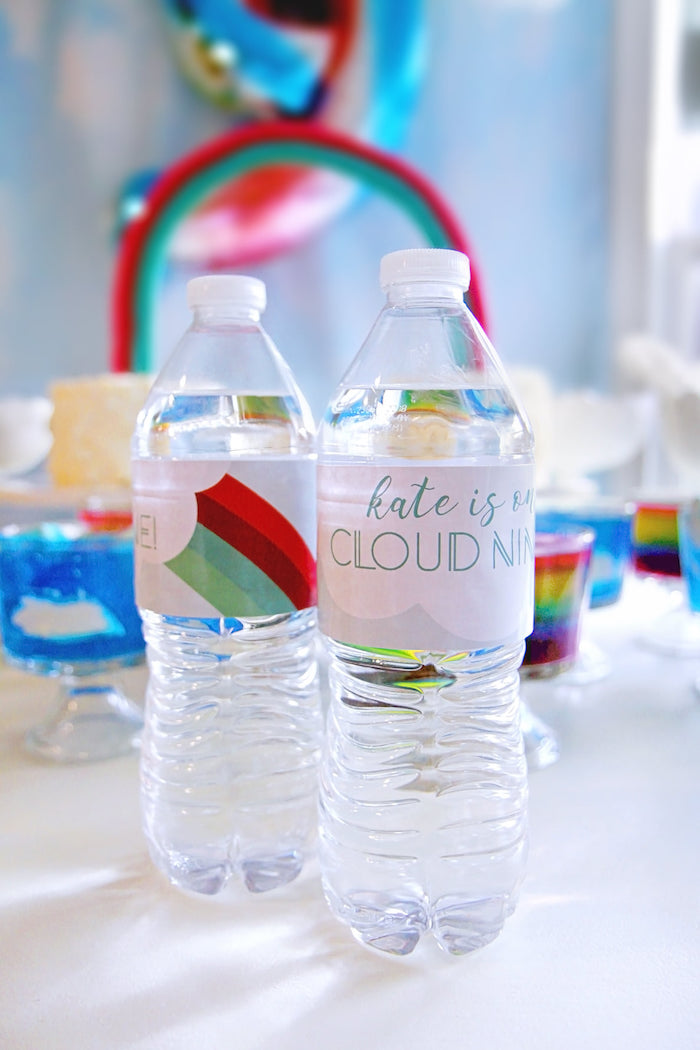 Custom Rainbow Water Bottle Labels from a Cloud Nine Sleepover on Kara's Party Ideas | KarasPartyIdeas.com (13)