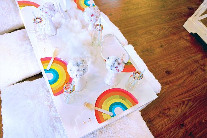 Rainbow Guest Table from a Cloud Nine Sleepover on Kara's Party Ideas | KarasPartyIdeas.com (10)