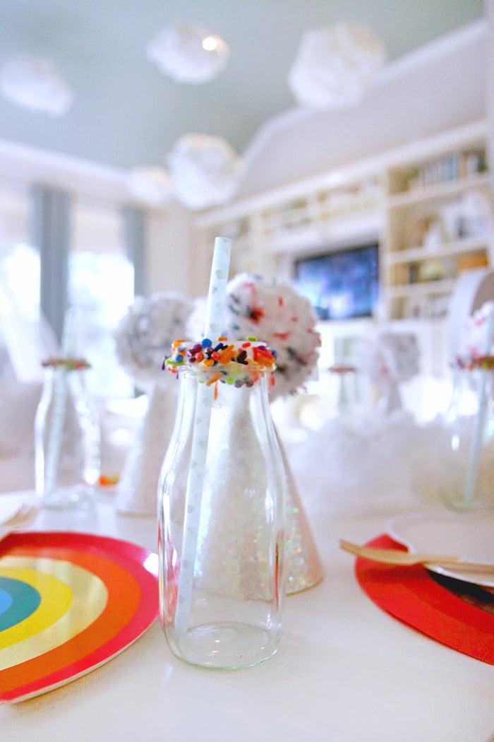 Sprinkle-dipped Milk Bottle from a Cloud Nine Sleepover on Kara's Party Ideas | KarasPartyIdeas.com (35)