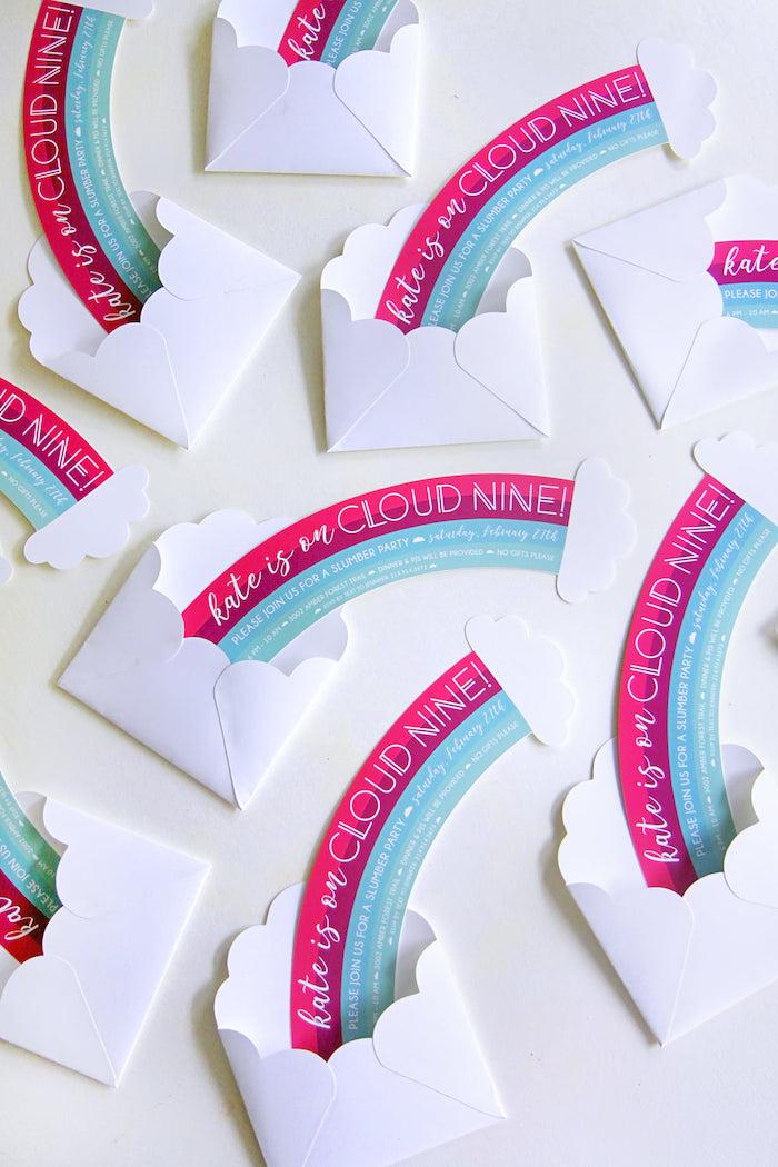 Rainbow Party Invite from a Cloud Nine Sleepover on Kara's Party Ideas | KarasPartyIdeas.com (32)