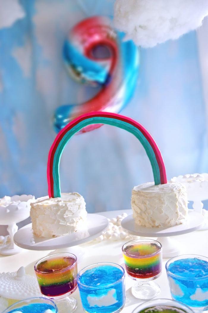 Double Rainbow Cake from a Cloud Nine Sleepover on Kara's Party Ideas | KarasPartyIdeas.com (31)