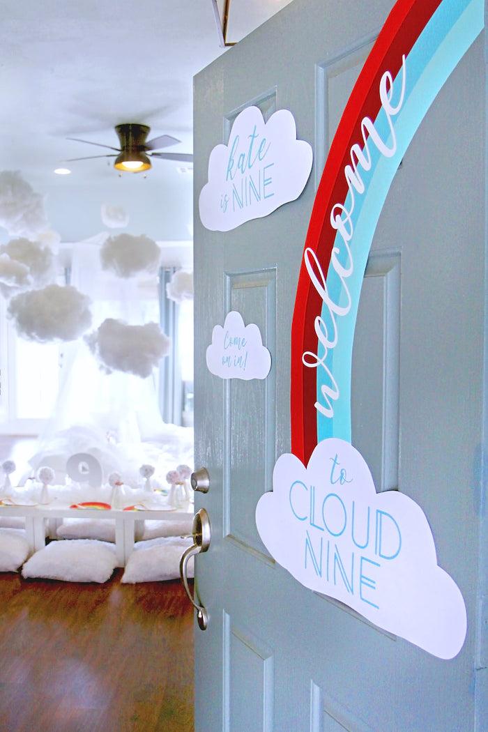 Rainbow Party Entrance from a Cloud Nine Sleepover on Kara's Party Ideas | KarasPartyIdeas.com (30)