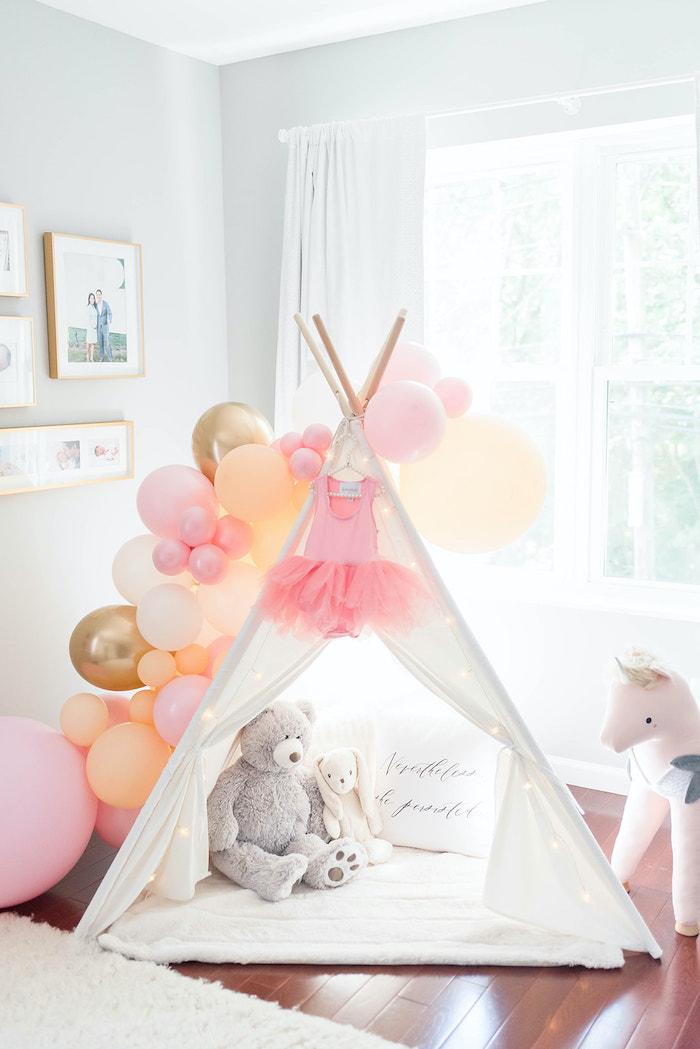 Tent Lounge from a Girly Dinosaur Birthday Party on Kara's Party Ideas | KarasPartyIdeas.com (23)