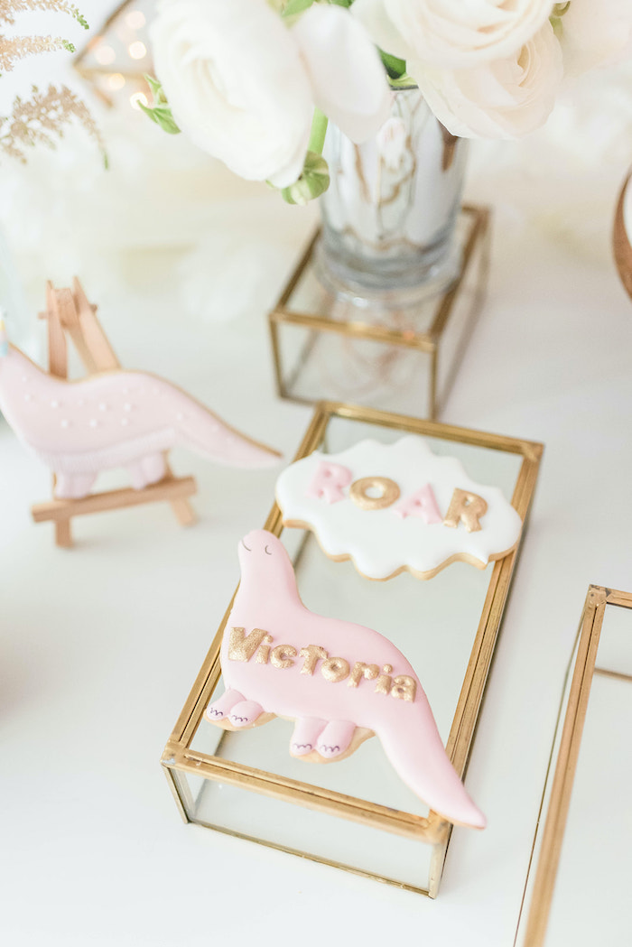 Roar Dinosaur Cookies from a Girly Dinosaur Birthday Party on Kara's Party Ideas | KarasPartyIdeas.com (15)