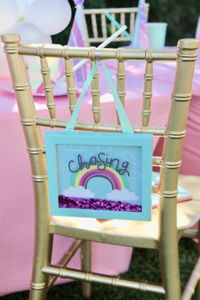 Rainbow Shadow Box Table Setting from a Glitter & Unicorns Birthday Party on Kara's Party Ideas | KarasPartyIdeas.com (15)