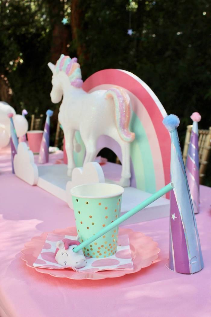 Unicorn Themed Table Setting from a Glitter & Unicorns Birthday Party on Kara's Party Ideas | KarasPartyIdeas.com (11)