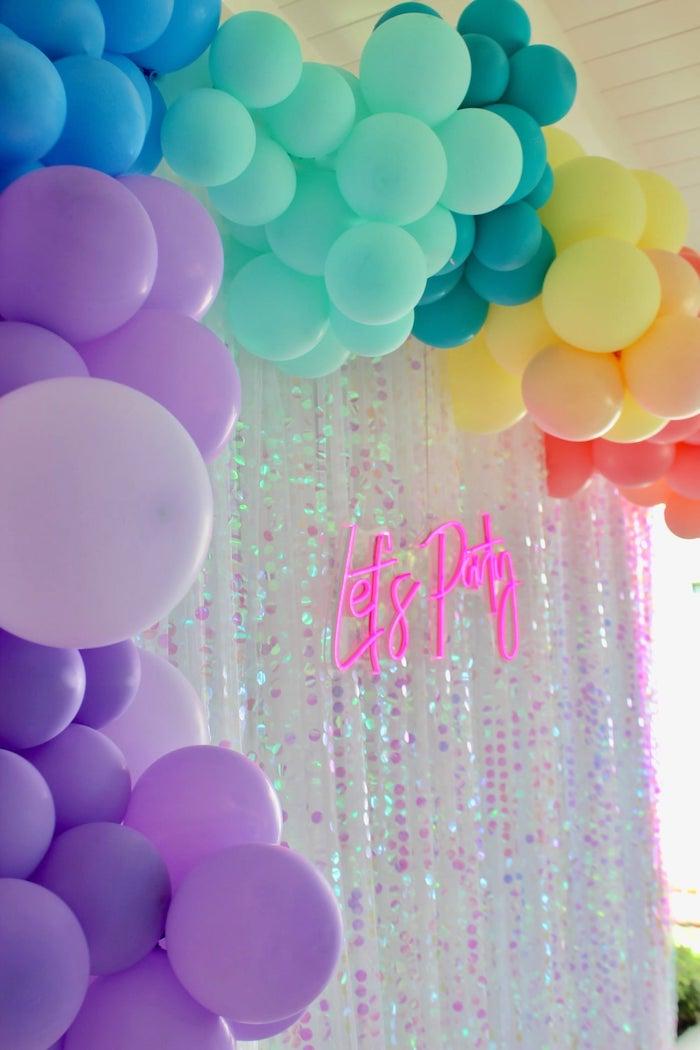"Iridescent ""Let's Play"" Balloon Garland-adorned Curtain from a Glitter & Unicorns Birthday Party on Kara's Party Ideas | KarasPartyIdeas.com (10)"
